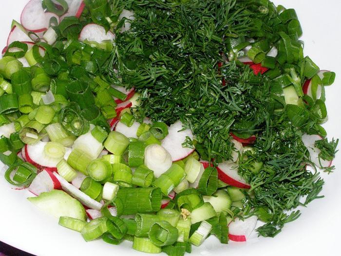 Салат из редиса с луком и сметаной пошаговый рецепт